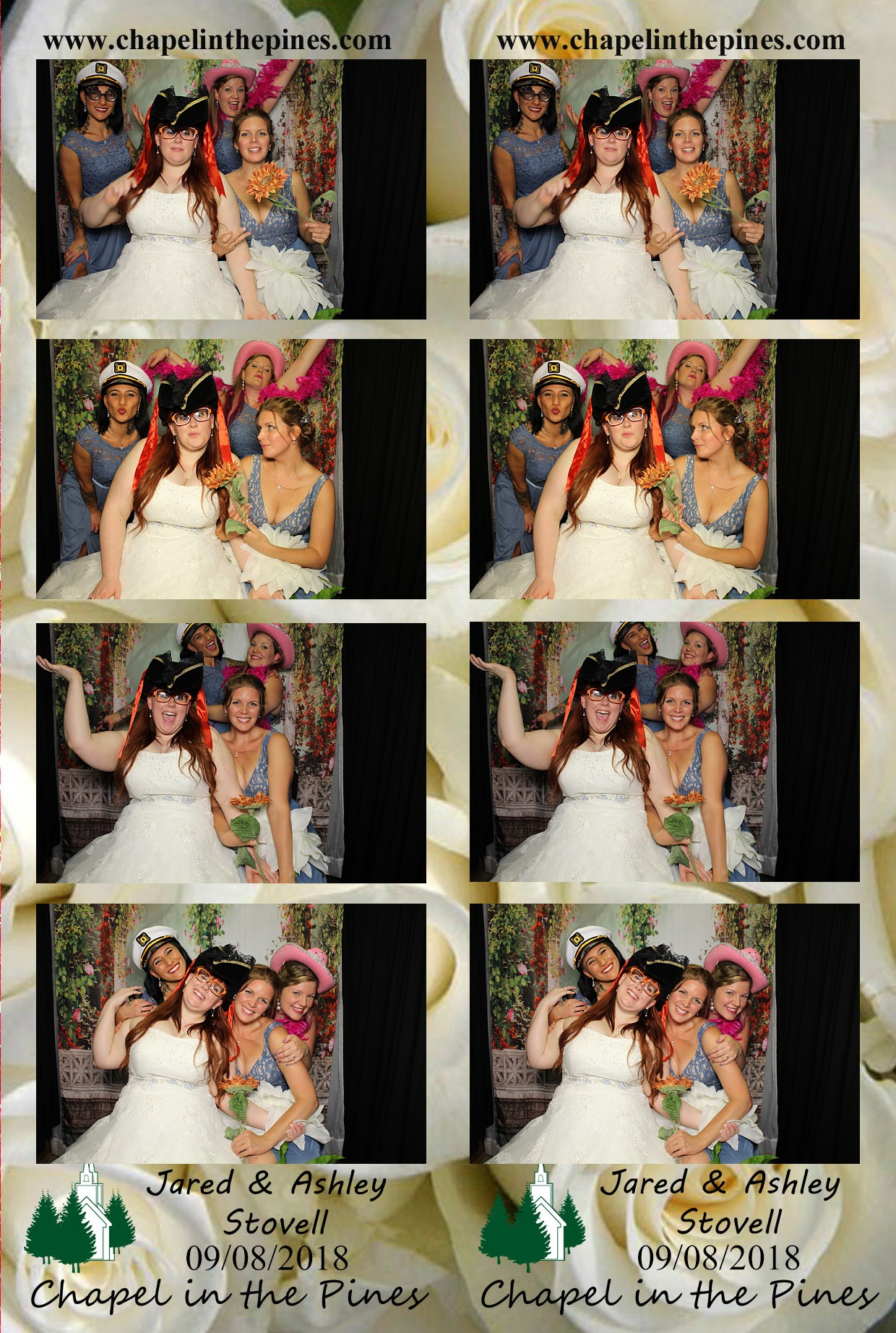 Bride and brides maids enjoying our photo booth with a white rose template background